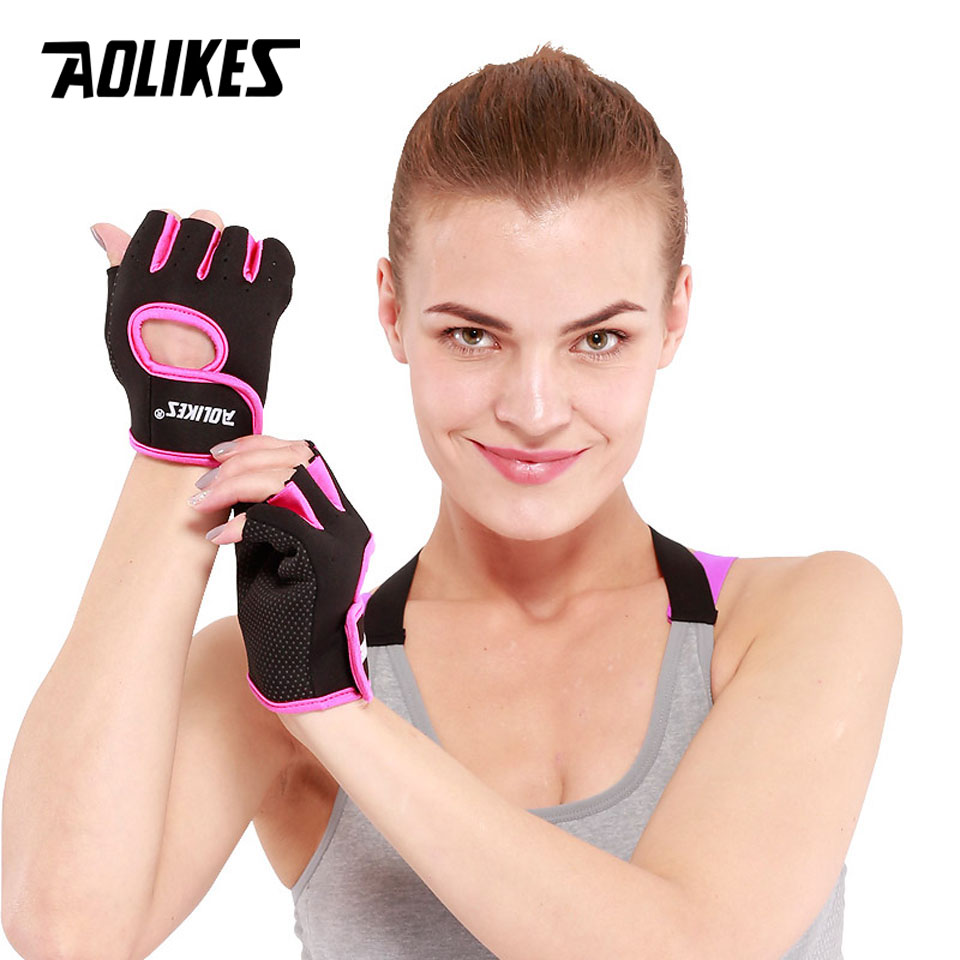 1Pair Men & Women Training Gym Gloves Body Building Sport Fitness Gloves Exercise Silicone Anti-slip Weight Lifting Gloves