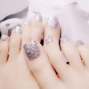 24 Pcs Glitter Silver False Nail Acrylic Toenail Holo Small Sequins Nail Art Foot Nail Salon Products T034 artificial nails
