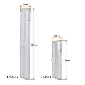Image 4 - Lámpara de armario con Sensor de movimiento PIR de 6/10 LED, luz LED para debajo de gabinete de encendido/apagado automático para cocina, dormitorio, iluminación de armario, luces nocturnas