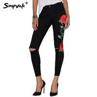SIMPVALE Stretch Floral Bordado Ripped Jeans Mujeres de Cintura Alta Flaco Pantalones Lápiz Denim Hembra Elástico Paquete Hip Pantalones Vaqueros de Elevación
