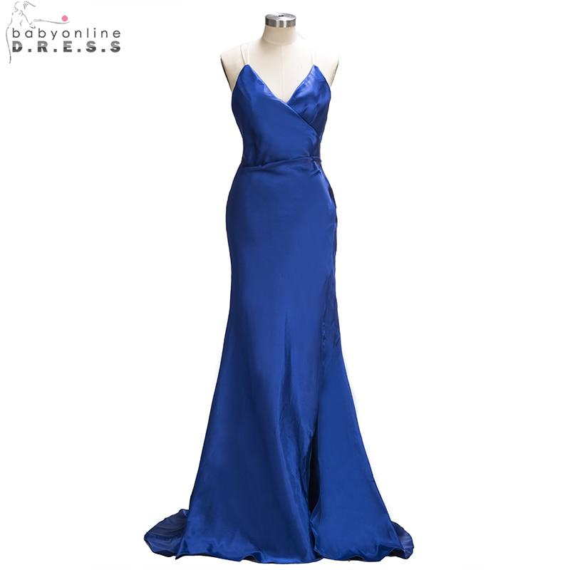 Sexy Halter Blue Satin Mermaid   Prom     Dresses   2019 Pleated Long Party   Dresses   Formal Evening   Dress   vestido de festa