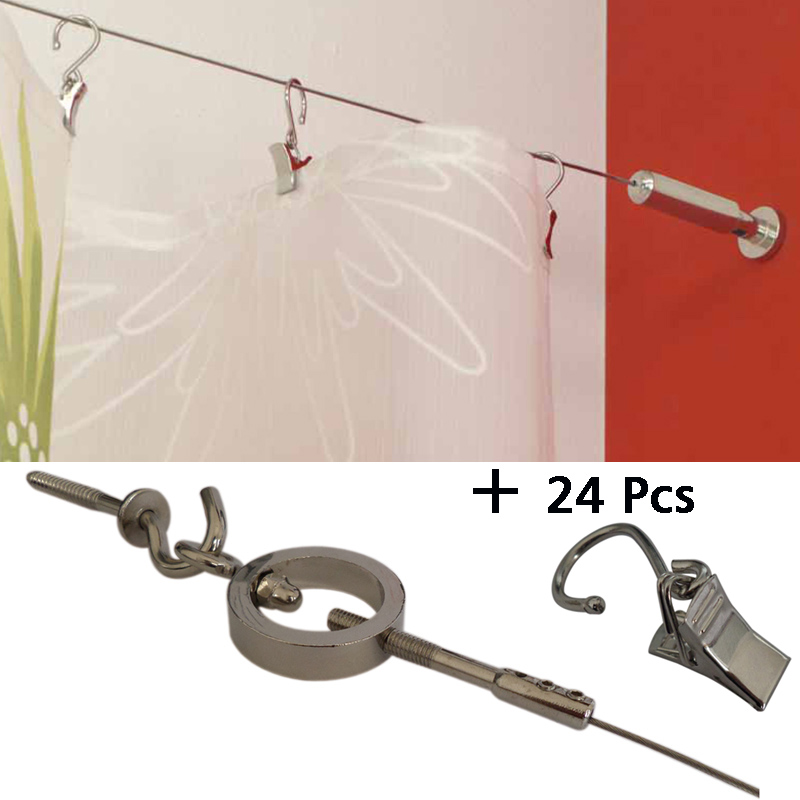 5M  Curtain Drapery Drape Wire Rod Set and 24 Clips,Ring , Curtain Accessories for Window Decoration5M  Curtain Drapery Drape Wire Rod Set and 24 Clips,Ring , Curtain Accessories for Window Decoration