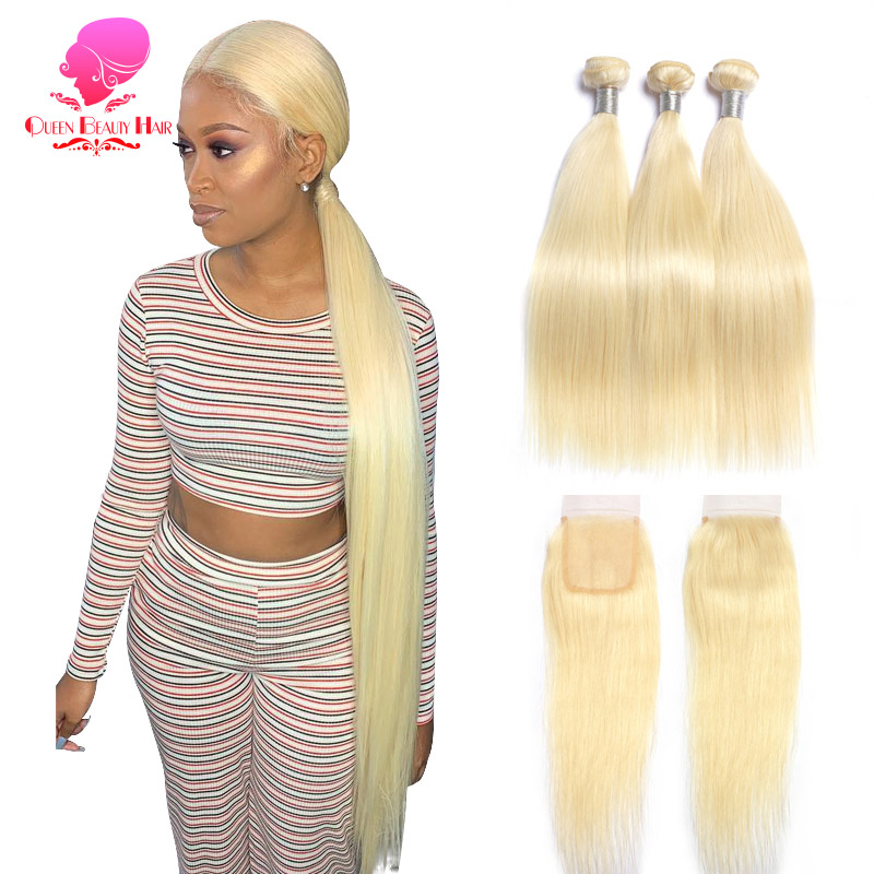 QUEEN BEAUTY 613 Blonde Human Hair Straight Brazilian Hair Weave Bundles With Closure,Remy Hair Deals 2/3/4 Bundles And Closure