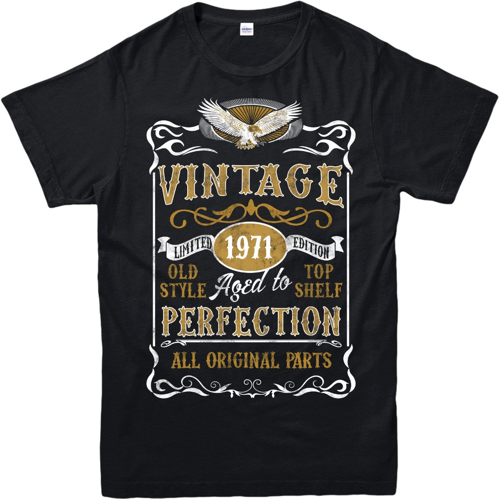 2018 New Short Sleeve Casual Made in <font><b>1971</b></font> <font><b>Vintage</b></font> T-Shirt, Born <font><b>1971</b></font> Birthday Age Year Gift Top Sale 100 % Cotton T Shirt image
