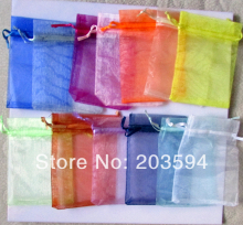 100pcs/lot Mix Colors Jewelry Packing Drawable Organza Bags 9*12cm