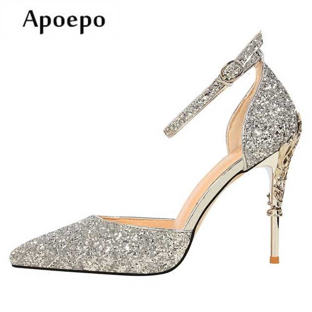 New Bling Bling Silver Glitter Embellished Wedding Heels 2018 Sexy Pointed  Toe High Heel Shoes Ankle Strap Stiletto Heels f6d59a8df7c9
