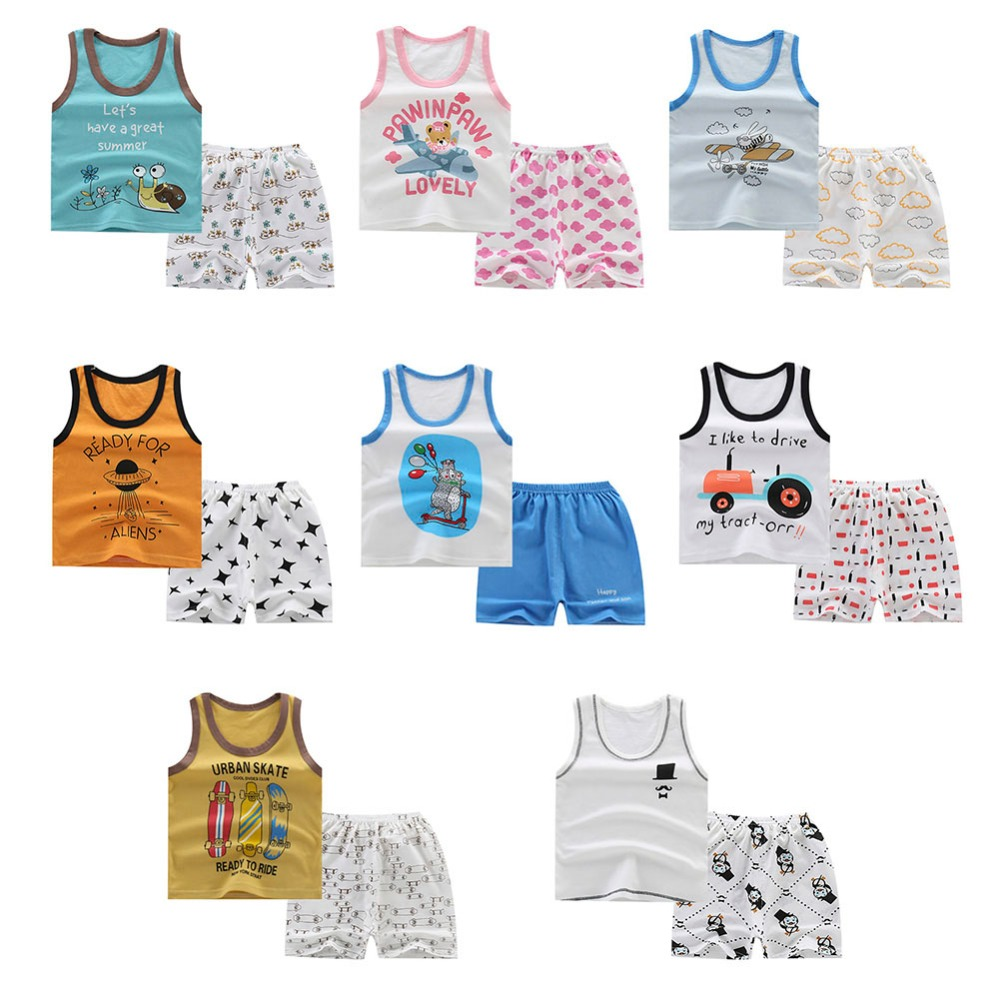 Clothing Sets Strong-Willed Cartoon Vest T-shirt For Baby Boy Clothes Set Summer Kids Clothes Set Beach Shorts 0-4t Boy T-shirt Outfit Clothes Mother & Kids