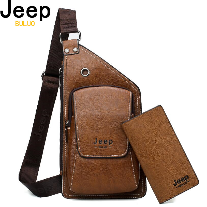 Men Chest Bags 2 Pcs Set JEEP BULUO Brand Summer Travel Sling Bag For Man Split Leather Corss body Bag High Quality Male BagsMen Chest Bags 2 Pcs Set JEEP BULUO Brand Summer Travel Sling Bag For Man Split Leather Corss body Bag High Quality Male Bags