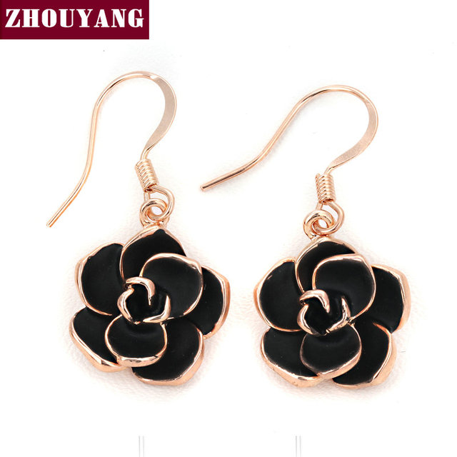 Top Quality Black Rose Gold Color Drop Earrings Made with Genuine Austrian Crystal Wholesale ZYE089 ZYE090