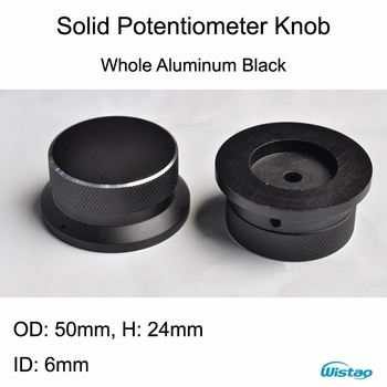 IWISTAO Solid Potentiometer Knob Straw Hat Whole Aluminum HIFI Amplifier Outer Diameter50 H24mm ID 6mm White/Black Free Shipping фото