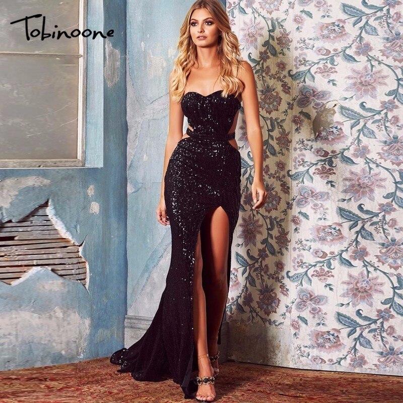 Tobinoone Sequin Maxi Dress 2018 Summer Off shoulder Female Backless Maxi  Long Dresses Sequin High Split Party Dress Vestdios 1d53c14ec557