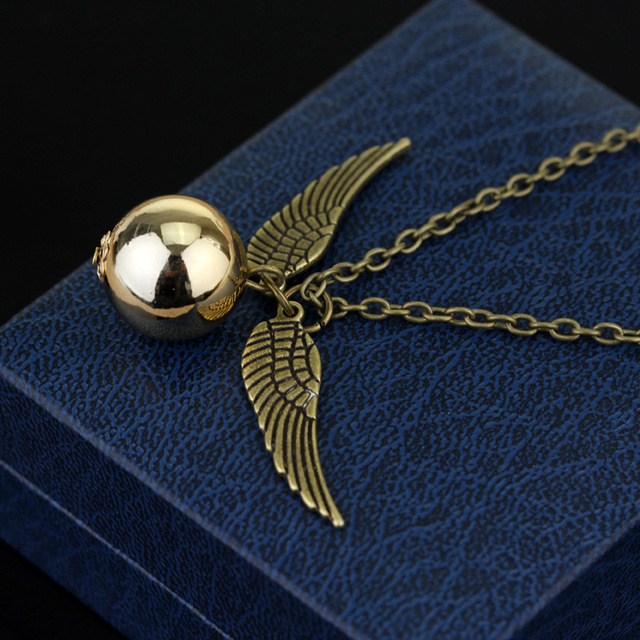 2016 Harry Potter And The Deathly Hallows Necklace Gold Snitch Exquisite Ball Wings Feather Necklaces for women and man