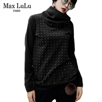 Max LuLu 2018 Spring New Designer Girls Punk Crop Top Tee Shirt Womens Turtleneck Tshirt Rivet