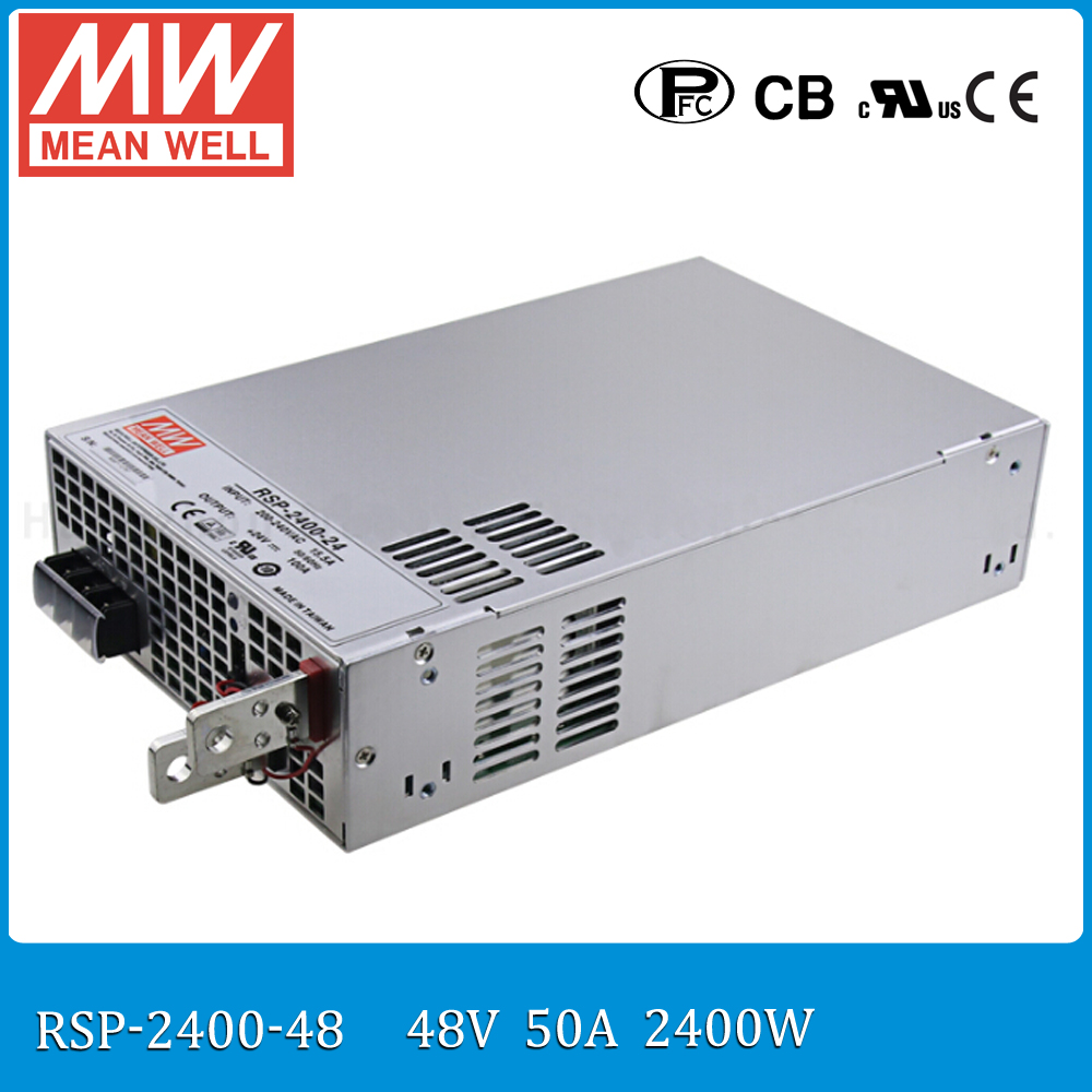 Original MEAN WELL RSP-2400-48 2400W 50A 48V voltage trimmable meanwell Power Supply 48V 2400W with PFC in Parallel connection original mean well rsp 2400 12 2000w 160a 12v voltage trimmable meanwell power supply 12v 2000w with pfc in parallel connection