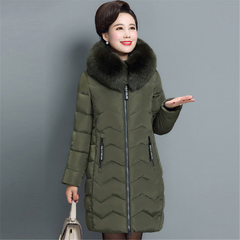 Winter Women Outerwear 2018 New Mid-Long Large Size Female Cotton Jacket Middle-Aged Hooded Fur Collar Thick Ladies   Parkas   Cw058
