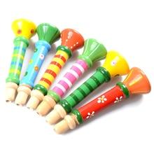 Цветной деревянный гудок труба музыкальный инструмент игрушка для детей ранние Образовательные Деревянные игрушки для детей случайный цвет