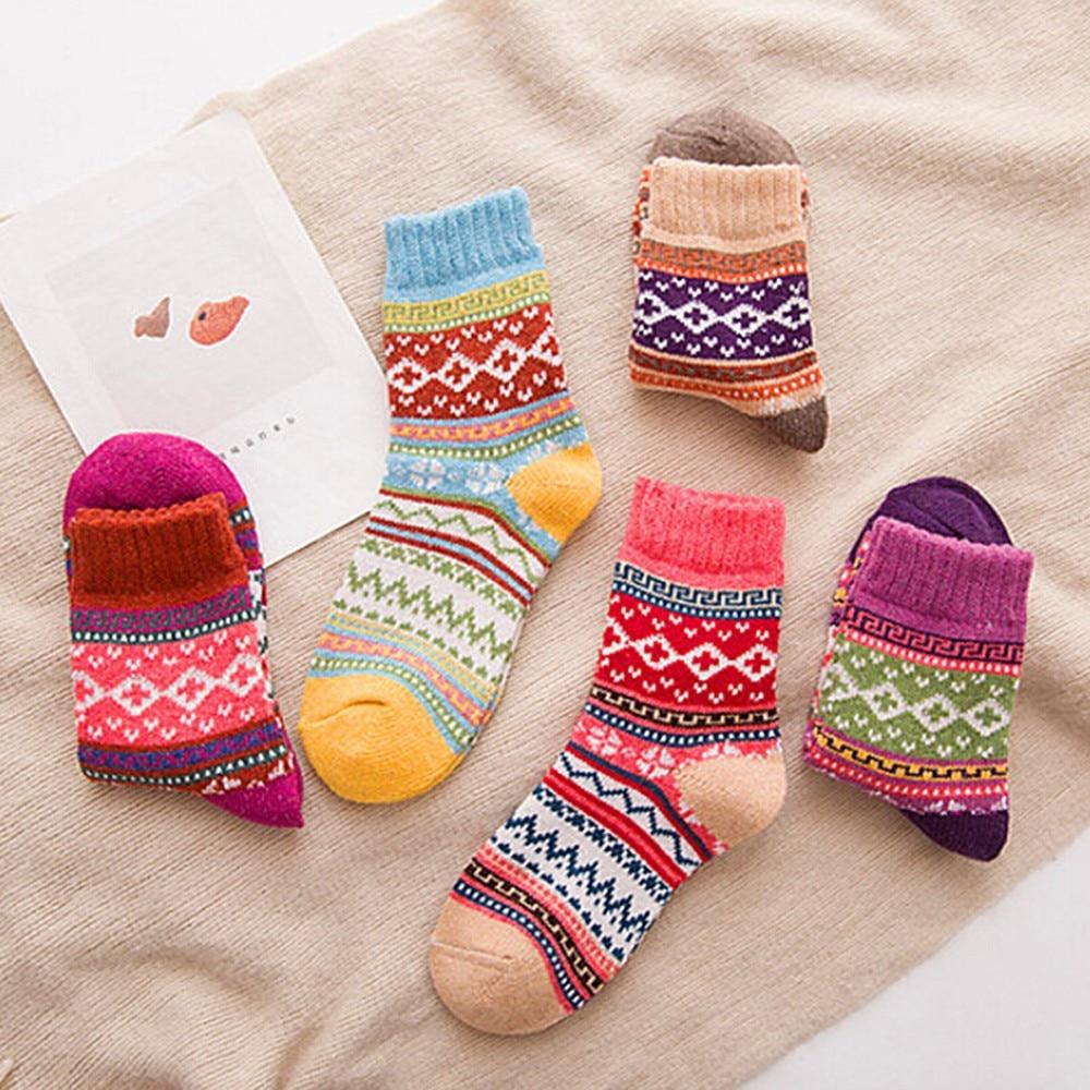 Winter   Socks   Women Vintage Soft Warm Thick Cold Bohemian Knit Wool Crew Retro   Socks   Geometry Print   Socks