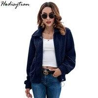 Hodisytian Winter Fashion Fleece Women Thick Jacket Velvet Slim Cardigan Long Sleeve Jaqueta Solid Female Hairly Coat Outerwear