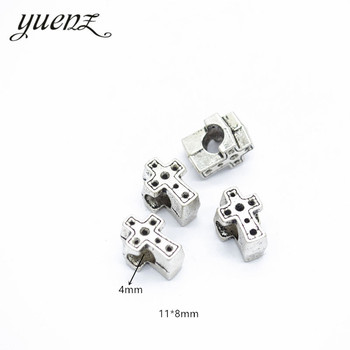 YuenZ 10pcs Antique Silver Color big hole cross Beads Spacers Beads Fit European Charm Jewelry Accessories DIY Findings R100 image