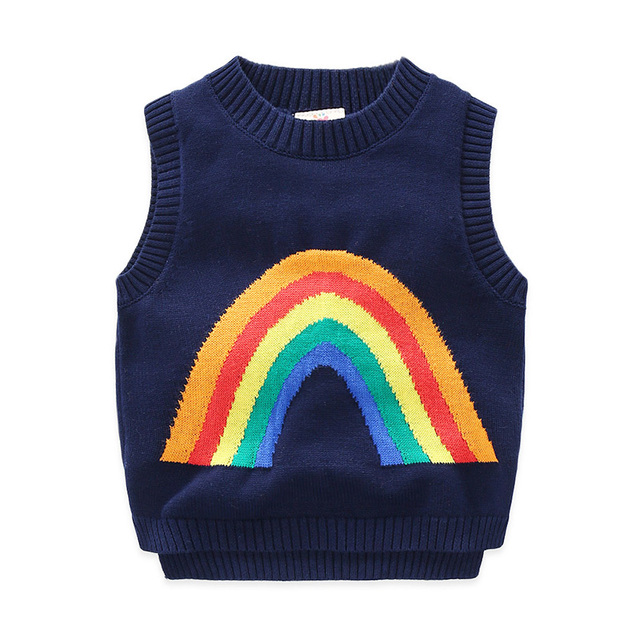 Fashion Kids Boy Sweater Sleeveless Vest Style Rainbow Pattern wt-7269