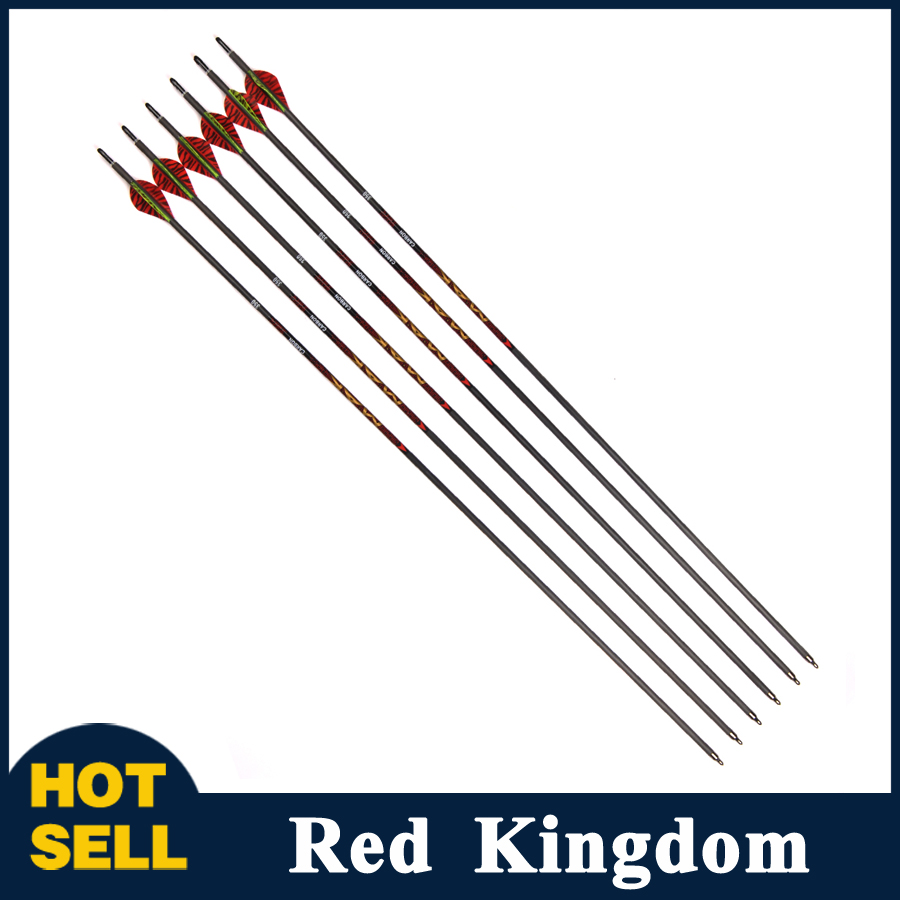 6pcs MAK Carbon Arrow Length 31 Inch Spine 340 OD 7.0 mm with 2 Red 1 Yellow Feature for Compound/Recurve Bow Hunting wholesale archery equipment hunting carbon arrow 31 400 spine for takedown bow targeting 50pcs
