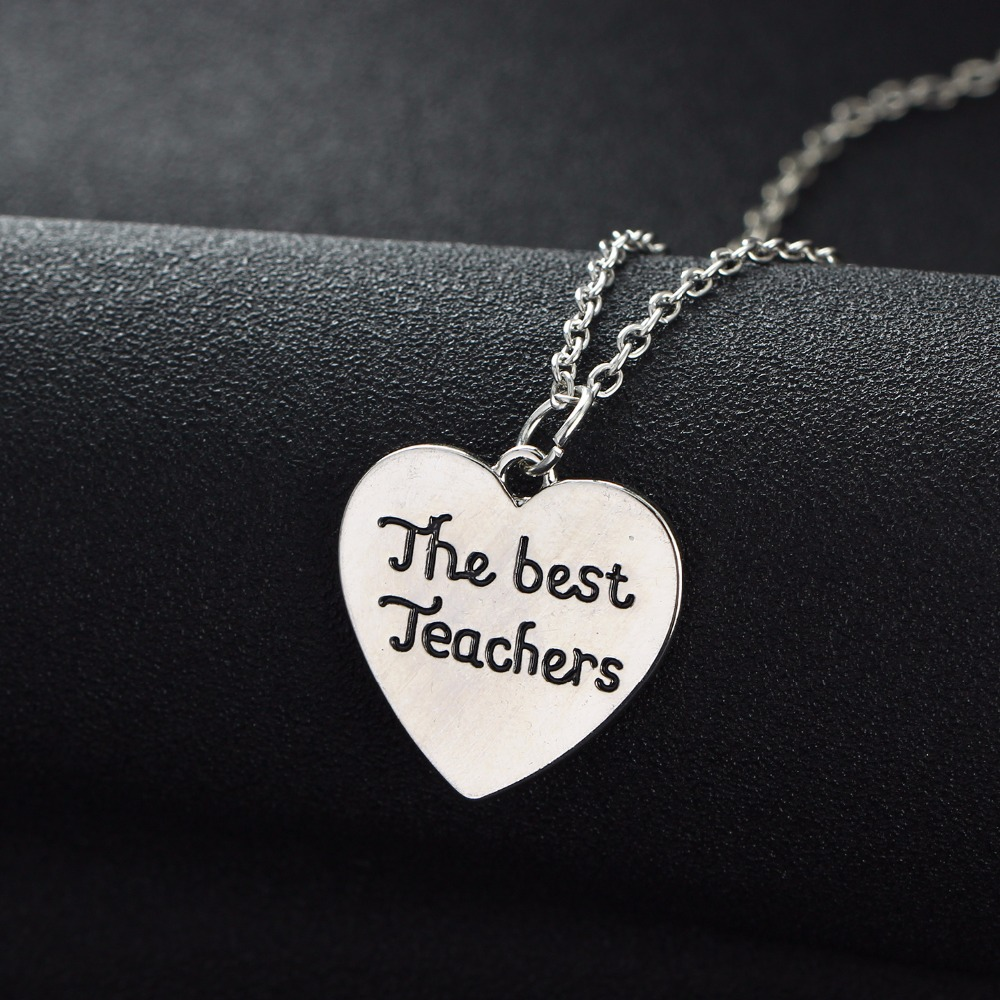 Teacher Necklaces Gifts The Best Teachers Love Heart Pendant Chain Necklace Charm Teachers Jewelry Teachers Day Presents