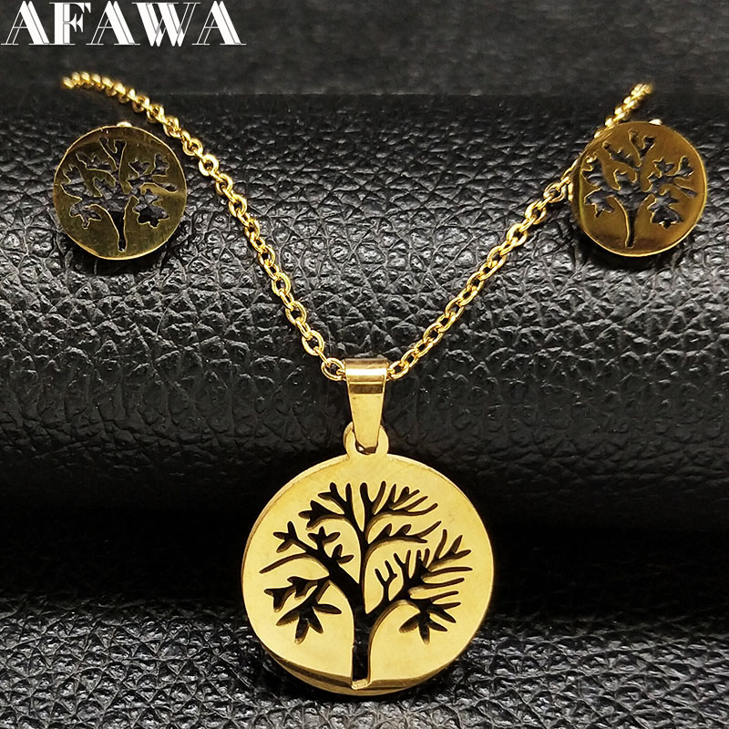 Tree of Life Stainless Steel Jewelry Set Women Gold Color Earring Necklace Set Jewelry acero inoxidable joyeria conjuntos 178584
