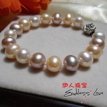NEW HOT ARRIVAL!!! FREE SHIPPING 9-10mm Multi-color Pearl Bracelet, Classical Pearl Jewellery for Female/Women/Girls