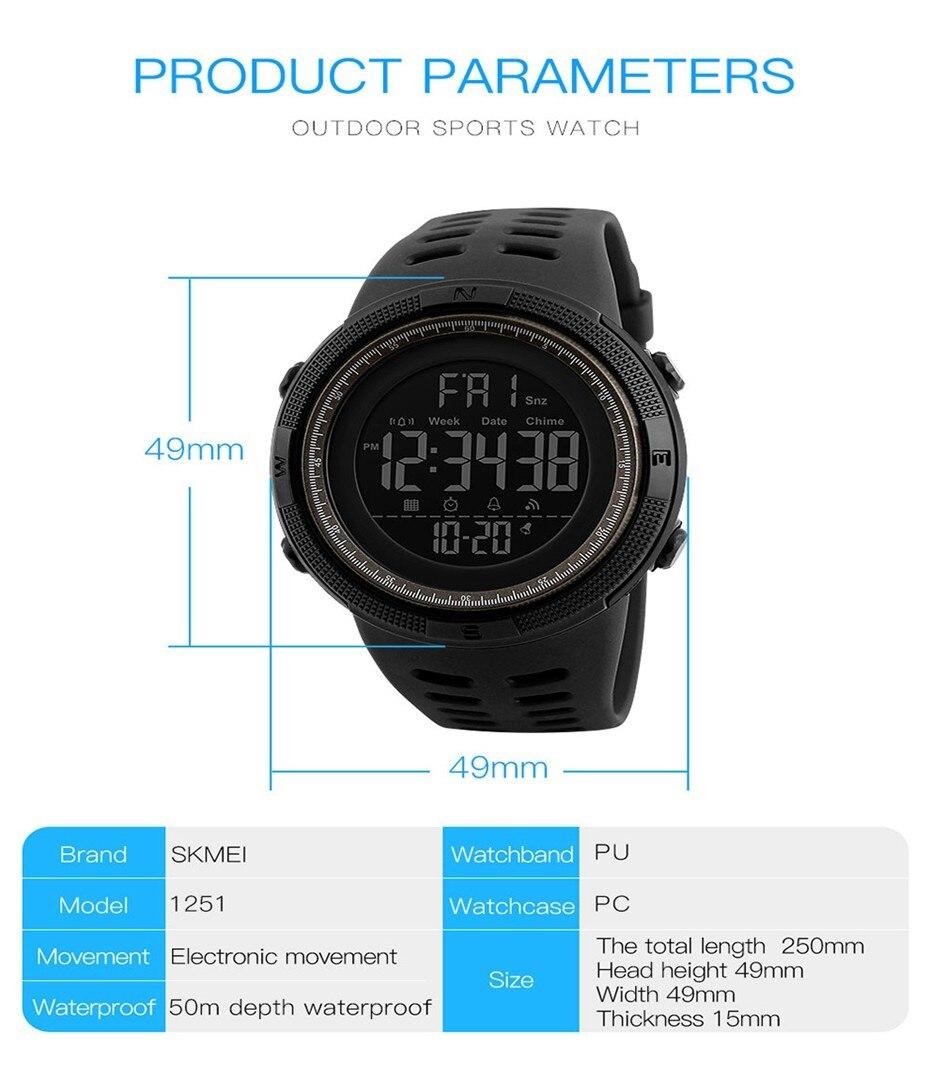 Watch Alarm Chrono Digital Wristwatches 50M Waterproof Relogio Masculino 1251