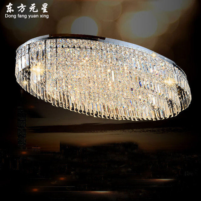 led ceiling lamp crystal light oval shaped modern style for living room dining room large luxurious lighting