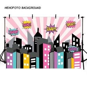 Image 3 - Mehofond 사진 배경 블루 슈퍼 히어로 생일 만화 빌딩 소년 어린이 포스터 배경 사진 스튜디오 Photocall