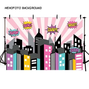 Image 1 - Mehofond Super Heroการถ่ายภาพฉากหลังสีชมพูอาคารเมืองเด็กทารกวันเกิดภาพพื้นหลังสตูดิโอถ่ายภาพPhotophone