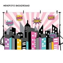 Mehofond Super héros photographie décors rose bleu ville bâtiment rayure bébé anniversaire Photo arrière plan Photo Studio Photophone
