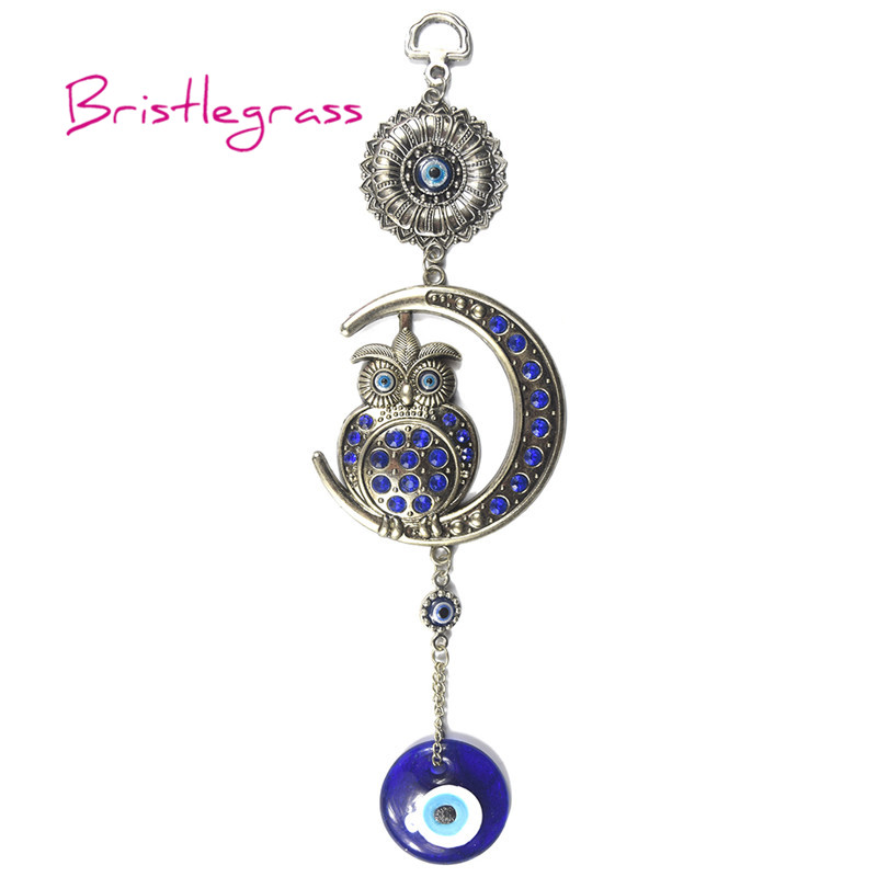 BRISTLEGRASS Turkish Blue Evil Eye Moon Owl Amulet Lucky