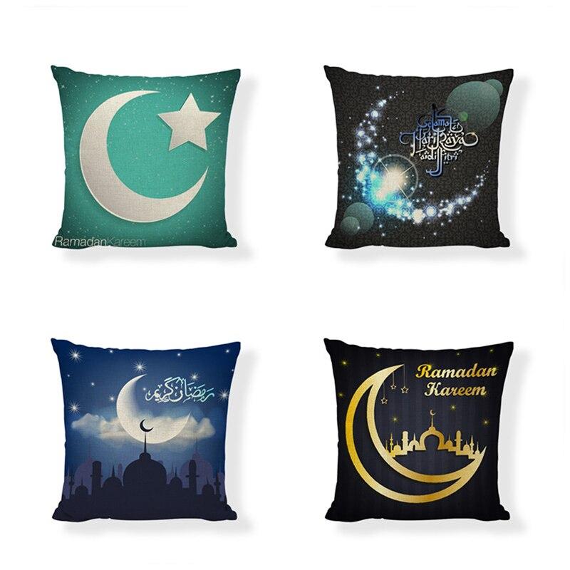 Groothandel Arabische Stijl Eid Al-fitr Ramadan Kussenhoes Moslim Familie Sofa Beddengoed Decor Linnen Materiaal 17*17 Inch Kussensloop