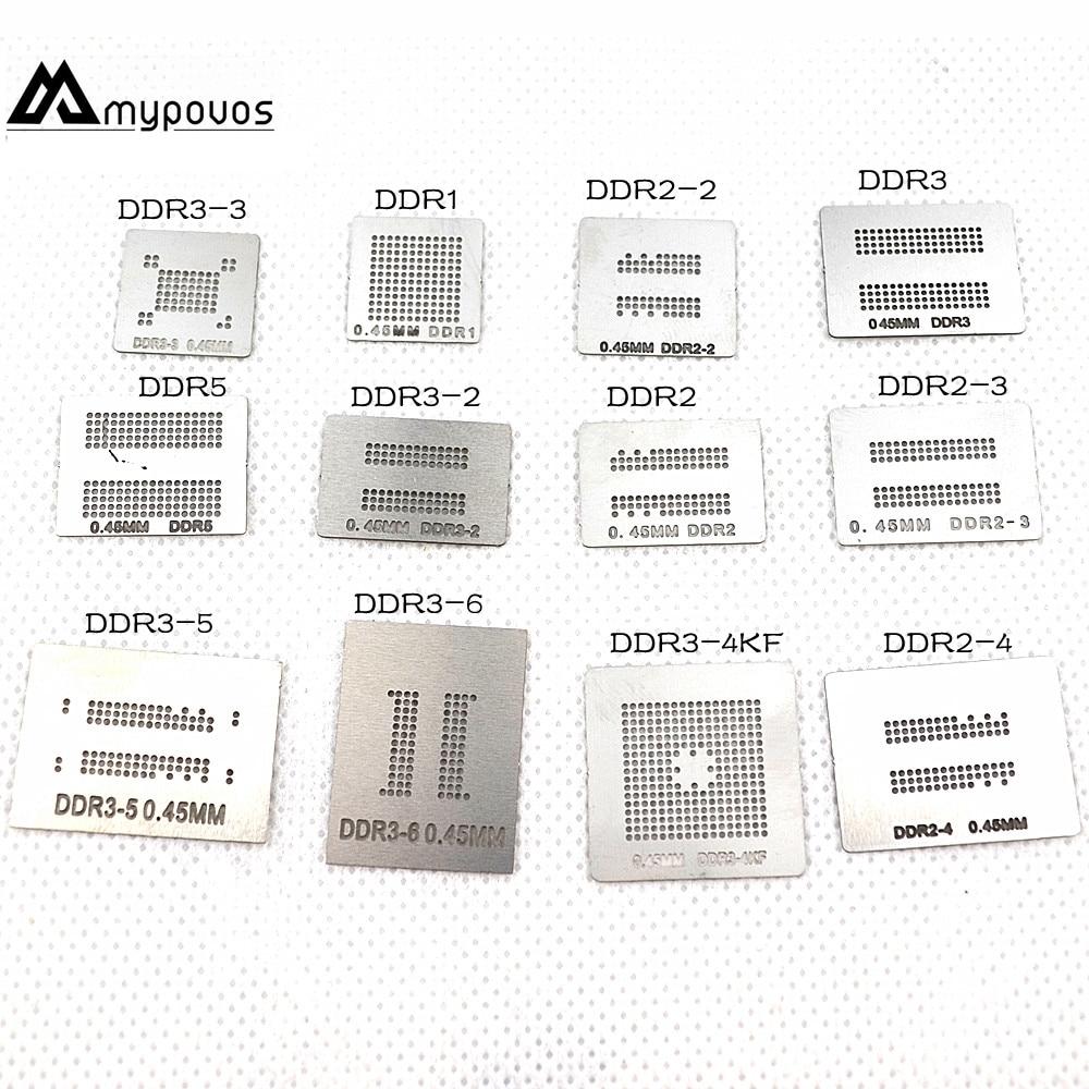 12pcs/lot Full Set BGA Reballing Stencil Dedicate Kit For DDR DDR2 DDR2-2 DDR2-3 DDR3-2 DDR3-3 DDR3-4 DDR5