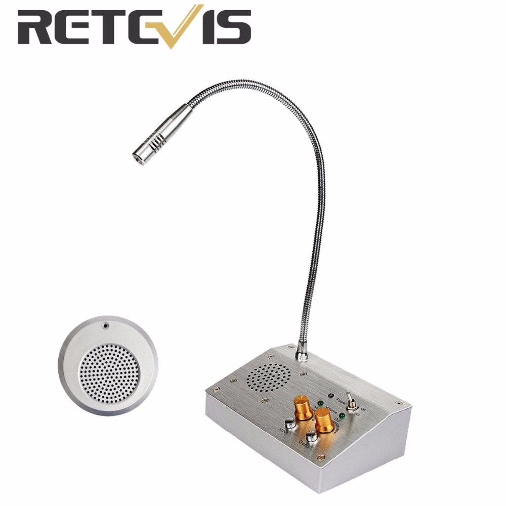 bilder für RETEVIS 2 Watt Fensterzähler Intercom Walkie Talkie Dual Weg Sprech System für Bank Bürogeschäft Station 110 V/220 V F4455