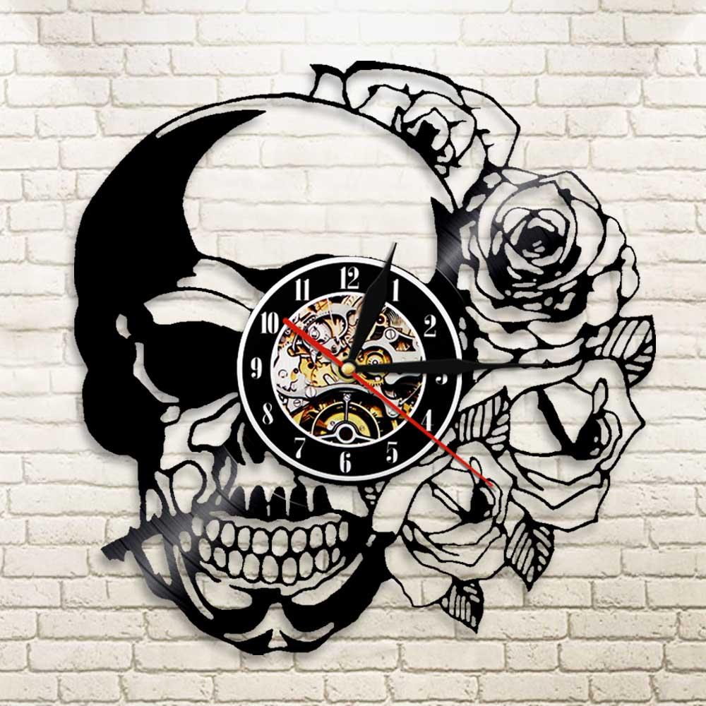 1Piece Hippie Skull With Rose Vinyl Record Wall Clock Modern Design Home Decor Wall Watch For Halloween Gift|vinyl clock|clock vinyl|living room clock - title=