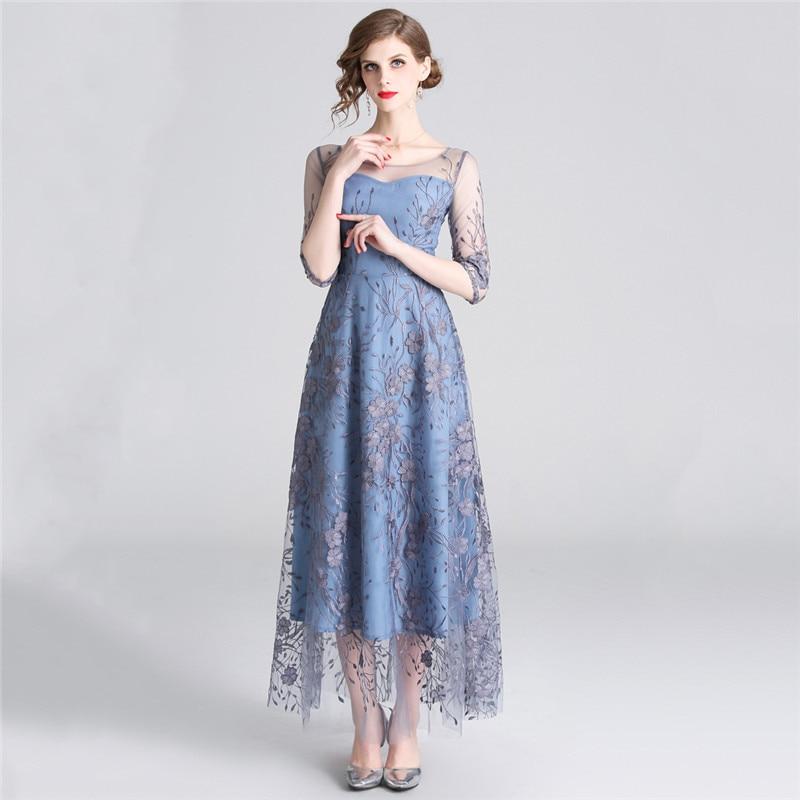 Robe de soirée femmes bleu gris S-2XL grande taille 2019 nouveau printemps maille broderie haute qualité mince cheville longueur robe Vestido LD1035