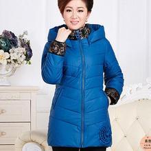 2016 осень-зима Плюс Размер женщин вниз Куртки Среднего возраста Женщина печати С Капюшоном мягкий теплый Тонкий случайные матери пальто F2910