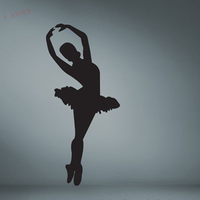 Ballet dancer silhouette removable vinyl wall art decor for Silhouette wall art