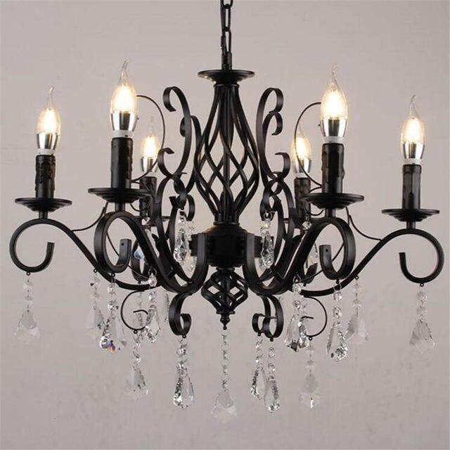 European Large Modern Chandelier Crystal Lighting Led Chandeliers Clear Black Iron Hanging Lights For Home Restaurant