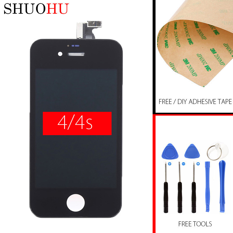 Tested LCD Screen 3.5 inch For iphone 4/4s 4G LCD Display Touch Digitizer Screen Assembly Free tools Free tempered glass 1 pcs for iphone 4s lcd display touch screen digitizer glass frame white black color free shipping free tools