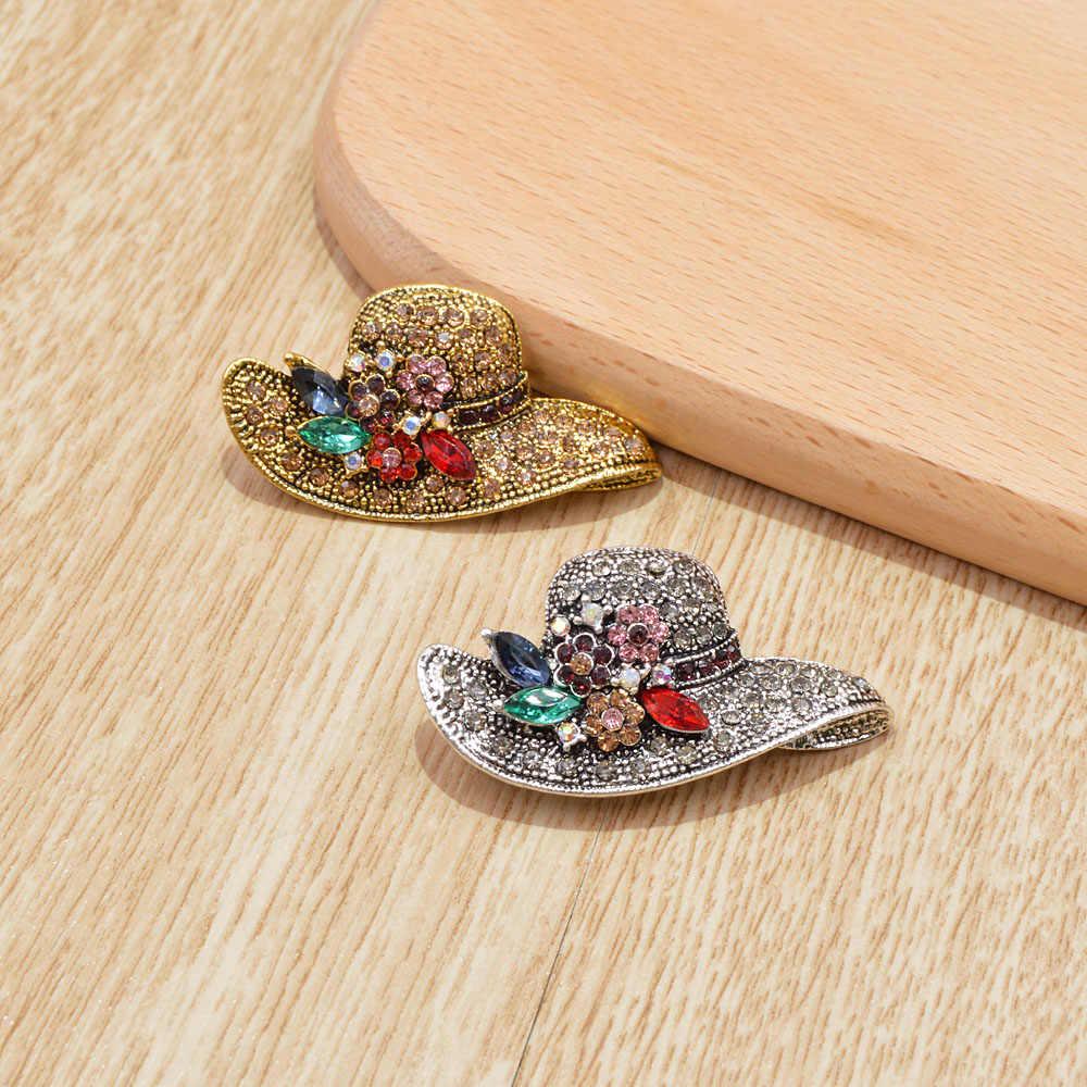 Cindy Xiang Vintage Antik Warna Emas Berlian Imitasi Topi Bros untuk Wanita Pernikahan Korsase Aksesoris Pin Kualitas Tinggi
