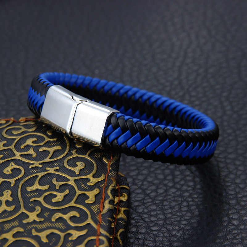 2020 nowy marka Punk Rock Style Trengy biżuteria magnes Handmade panie skórzana bransoletka męska akcesoria prezent dla par
