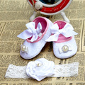 2015 New Girl infant tiara baby shoe white first walkers;infant baptismal  shoe;diamond baby boots headbands sets