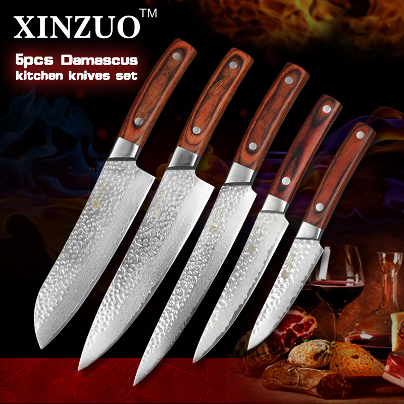 2016 newest xinzuo 5 pcs kitchen knives set japanese damascus steel