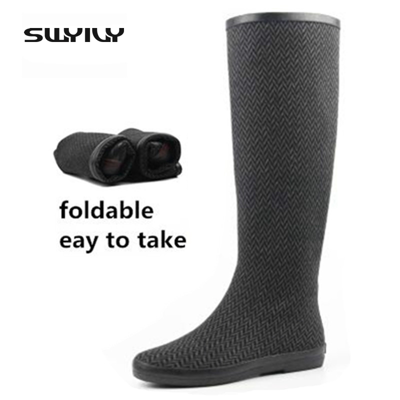 Foldable Light Easy To Take 2017 Women Rain Boots Rubber Boots Big Plus Size 41 42