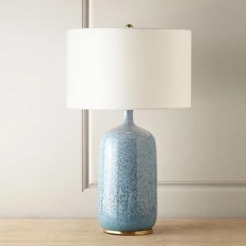 Lampe de chevet classique créative en céramique bleue lampe de Table de salon Vintage modèle chambre lit-éclairage pour salon chambre
