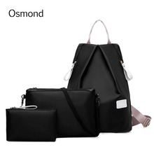 Osmond Women Backpack Nylon Lightweigt Bag Casual Travel Double Shoulder 3 Bags/Set Purple Blue New Fashion Girls Shoulder Moch
